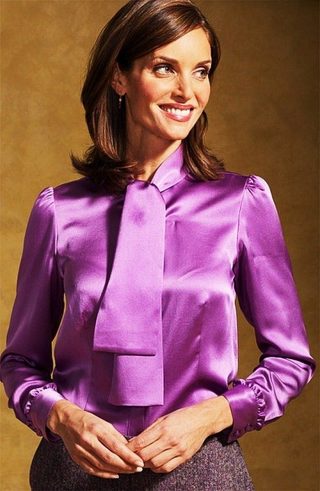 Lavender Blouse For Women Purple Satin Blouse With Neck