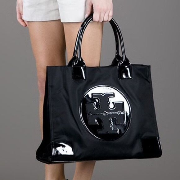 Tory Burch Large Black Ella Nylon Tote Bag Classic, signature nylon tote from Tory Burch. In excellent shape with some light white marks on corners - see pics. Tory Burch Bags Totes