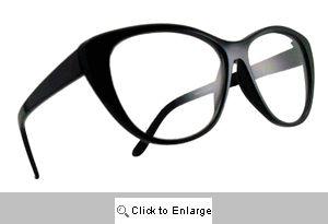 Kelsey Upswept Clear Lens Glasses - 225 Black