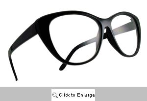 Kelsey Upswept Clear Lens Glasses - 225 Black