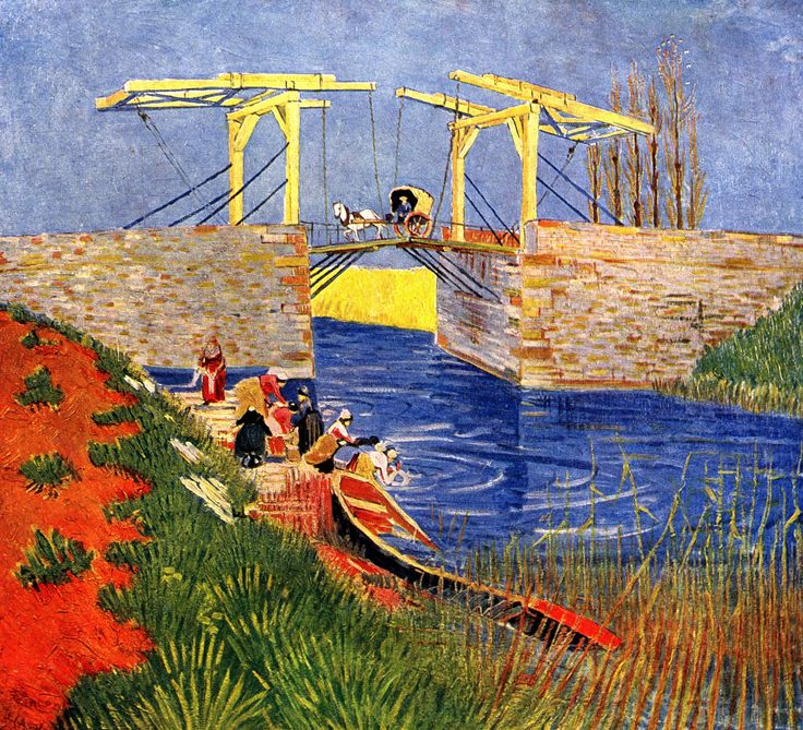 The Langlois Bridge at Arles with Women Washing - Vincent van Gogh
