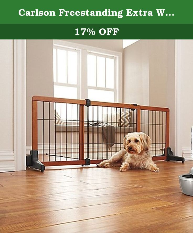 """Carlson Freestanding Extra Wide Pet Gate. This Freestanding Extra Wide Pet Gate is perfect for keeping your pet in designated spaces and is designed to block off openings 41"""" to 70"""" wide."""
