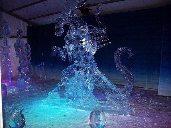 Alien queen #icesculpture, by Koji Kareki and  Kei Sakugawa, at the Winterlude Ice Sculpture Contest.