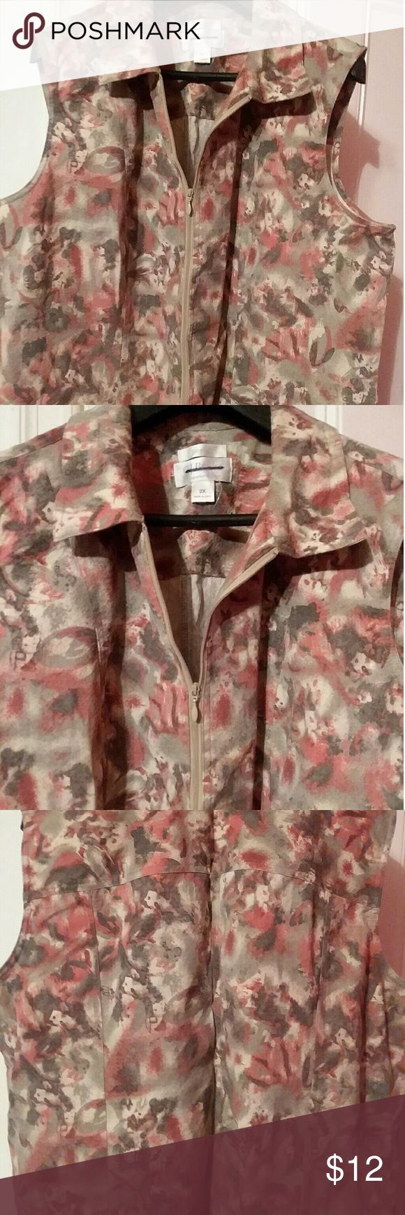 Preowned Floral Vest This cute floral zip up vest by CJ Banks has a stretchy material. Very cute and you can wear with just about anything CJ Banks Jackets & Coats Vests