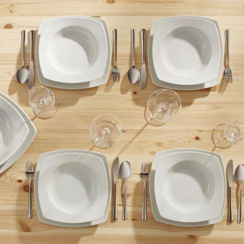 12-teiliges Tafelservice in Weiß - schlicht und modern für Ihren Tisch