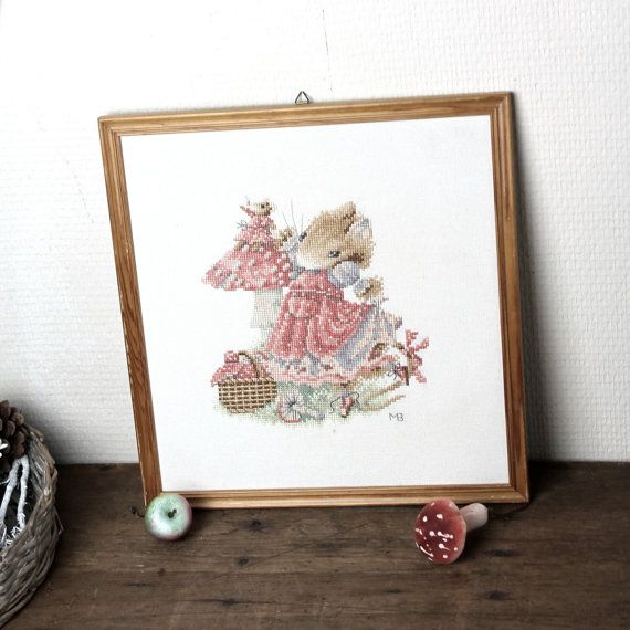 mouse wall art woodland embroidery mouses and by Sweetlakevintage