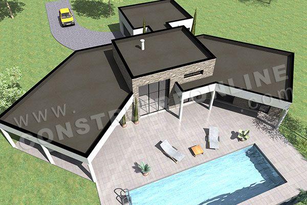 plan de maison en U contemporaine AMAZONE ciel