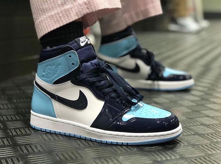 La Air Jordan 1 High UNC Patent Leather Blue Chill est la première ...