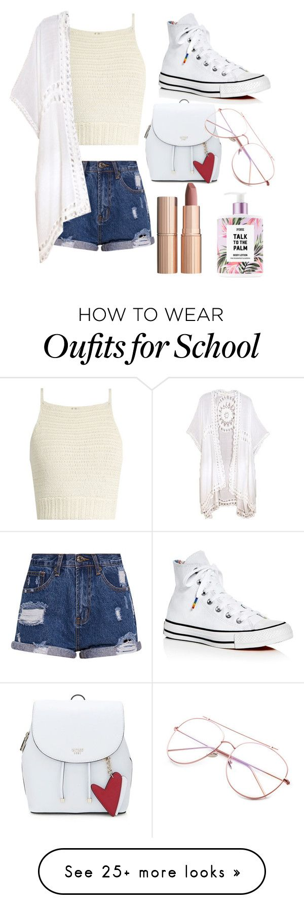 """ew, it's almost school."" by jeonayla on Polyvore featuring SHE MADE ME, Do Everything In Love, Converse and Charlotte Tilbury"