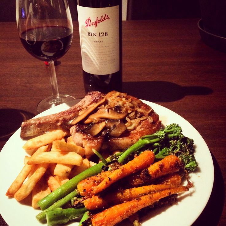 Steak night - rib eye with mushroom jus, broccolini, honey roasted carrots and chunky steak fries served with Penfolds Bin 128