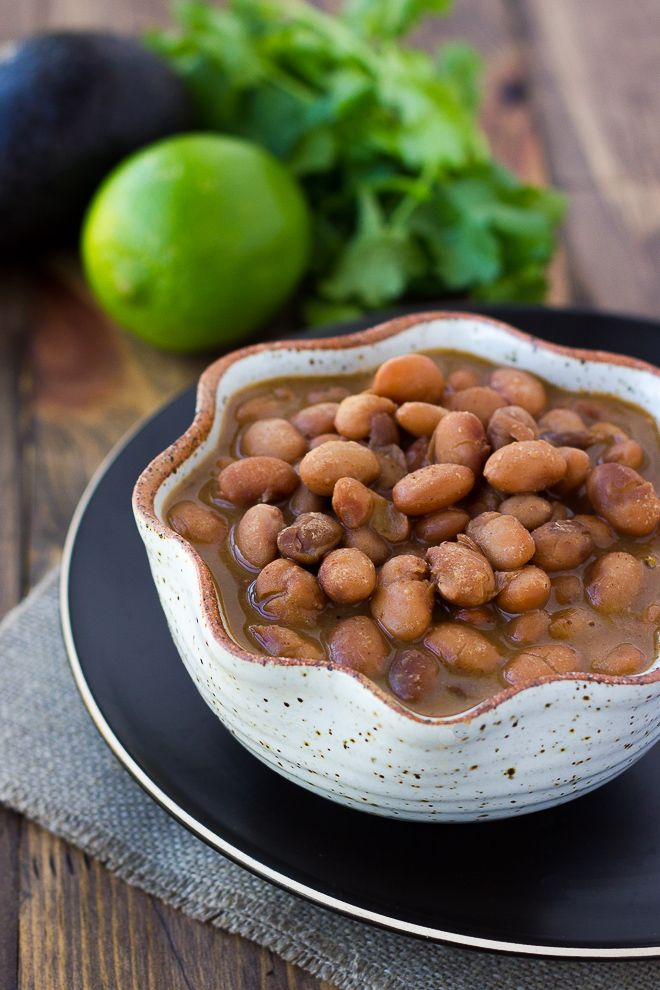 Slow-Cooker Mexican Pinto Beans! So flavorful and easy to make. {Gluten-Free} | Meaningful Eats