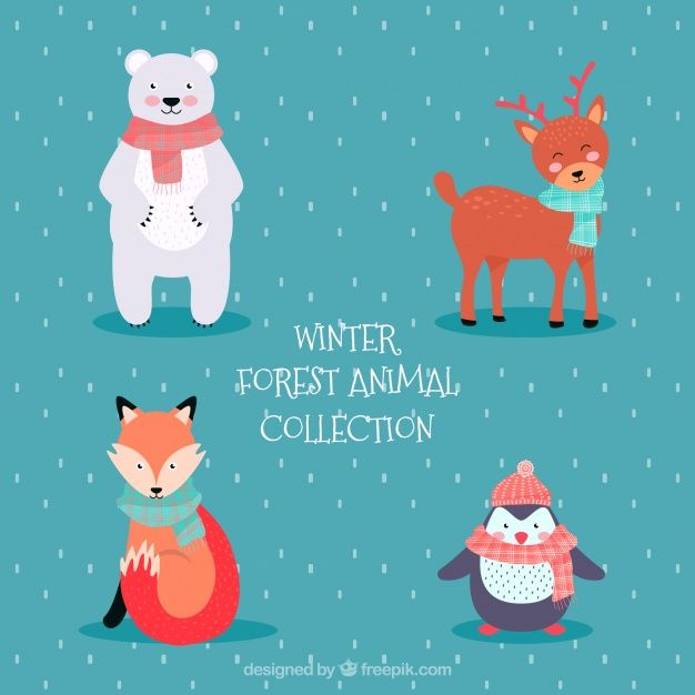 Winter forest animals pack of four Free Vector