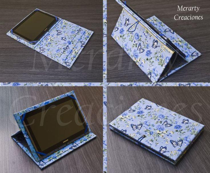 """Funda para tablet de 10"""" realizada con carton y tela."""