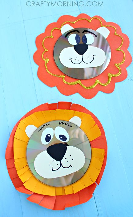 Too Cute ! Easy & Fum Recycled CD Lion Wall Art Craft for Kids !