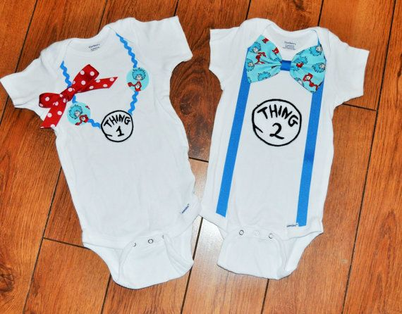 Check out this cute twins outfit Thing 1 Thing 2 boy girl twins shirts Dr Seuss Twins by RYLOwear