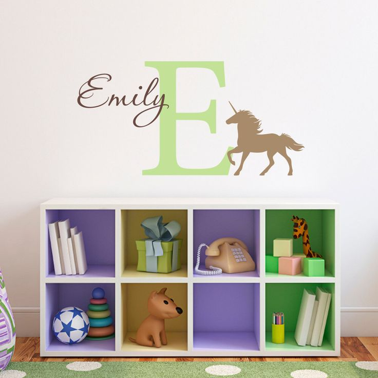 Unicorn Wall Decal with Initial & Name - Personalized Girl Decal - Unicorn Wall Art - Medium by StephenEdwardGraphic on Etsy https://www.etsy.com/listing/204778020/unicorn-wall-decal-with-initial-name