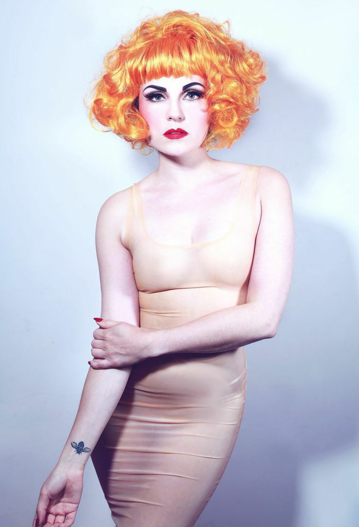Cabaret artist Abi Blaine in Kim West flesh Vest Dress.