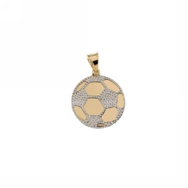 Ciondolo pallone da calcio Unisex in oro giallo e bianco 18 kt GioielliVarlotta