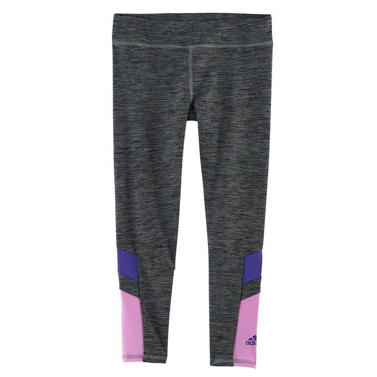 Girls 4-6x Adidas Climalite Space-Dye Tights, Dark Grey