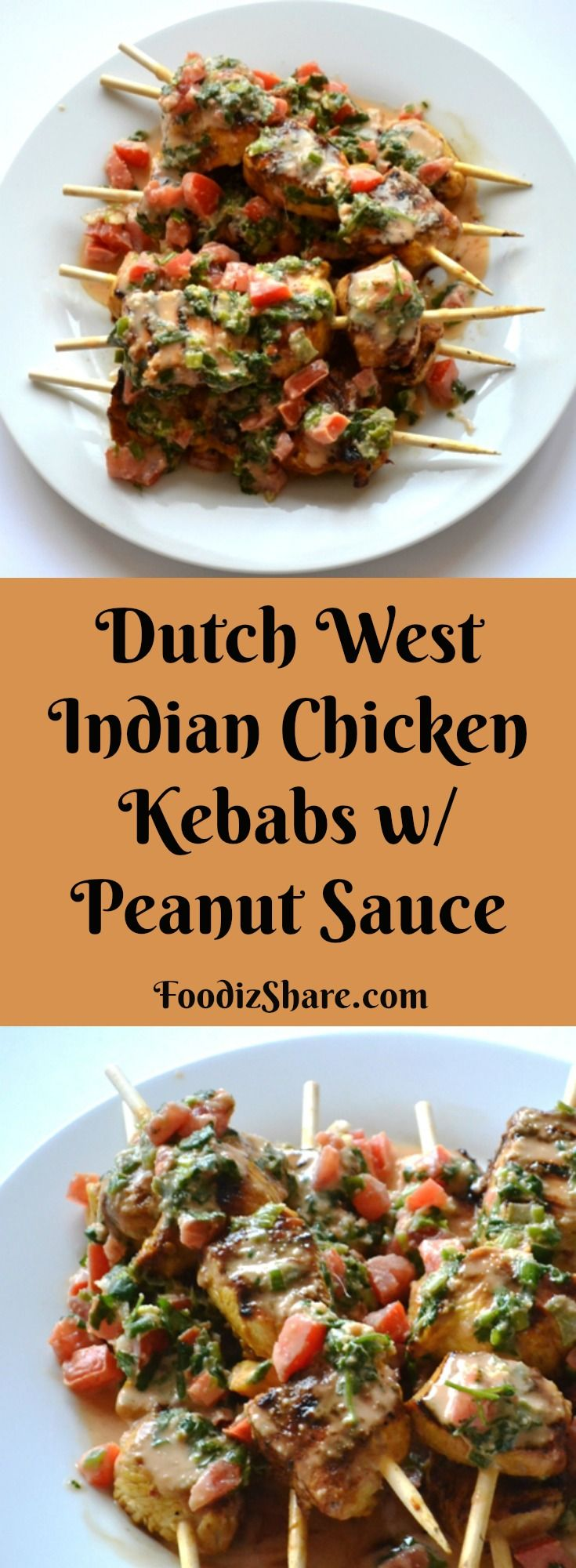Caribbean chicken kebab dish served with peanut sauce