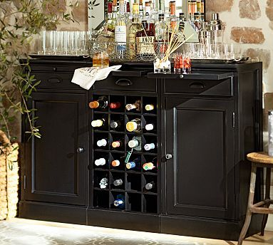 Modular Bar Buffet - 2 Cabinet Bases  1 Wine Grid Base #potterybarn