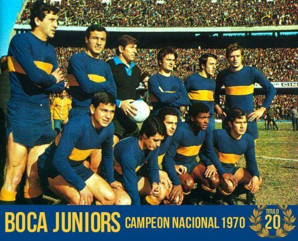1970 Boca Juniors - Arriba: Nicolau, Rogel, Antonio Roma, Ruben Suñe, Madurga y Silvio Marzolini - Abajo: Ponce, Angel Rojas, Nicolas Novello, Orlando Medina y Peña