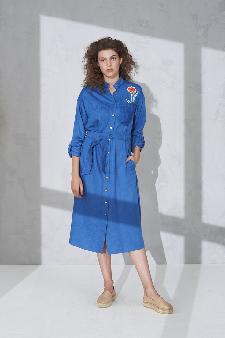 Long sleeve shirt dress with tie belt and badge detail