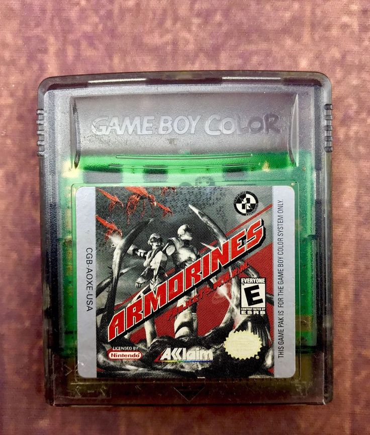 Gameboy Colour Game Armorines  Rare Advance Sp Nintendo Ds Large Crystal Cart