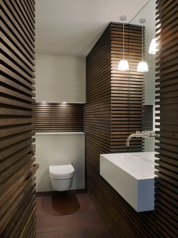 london wood slat wall powder room contemporary with small ...