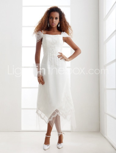 Sheath Column Off The Shoulder Asymmetrical Tulle Wedding Dress With Beading Lace Embroidered