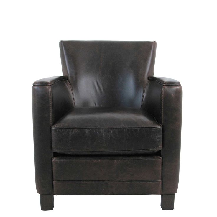 Relax in style with the Berner armchair. The simple and contemporary design is upholstered in aged Tennessee leather for an authentic look and is finished with classic dark walnut legs and a foam filled seat cushion.