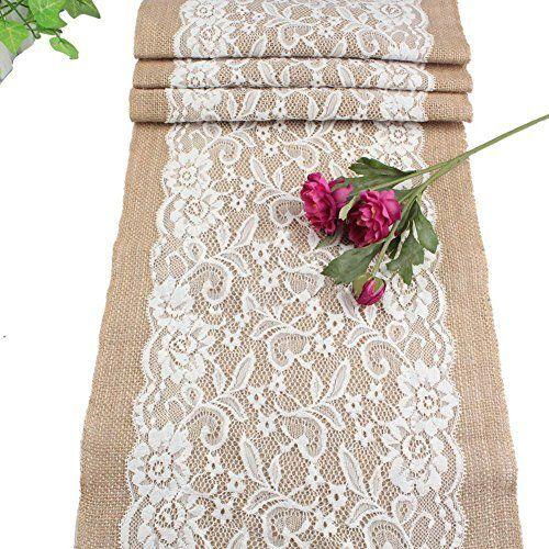 10m Tischläufer Tischband Jute 30cm breit Gitterband, Farbe:natur