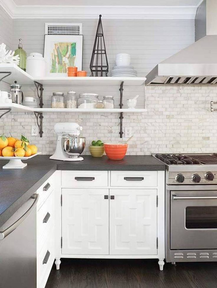 Grey countertops edge cut white cabinets marble looking subway tile backsplash kitchen fun - White kitchen dark counters ...