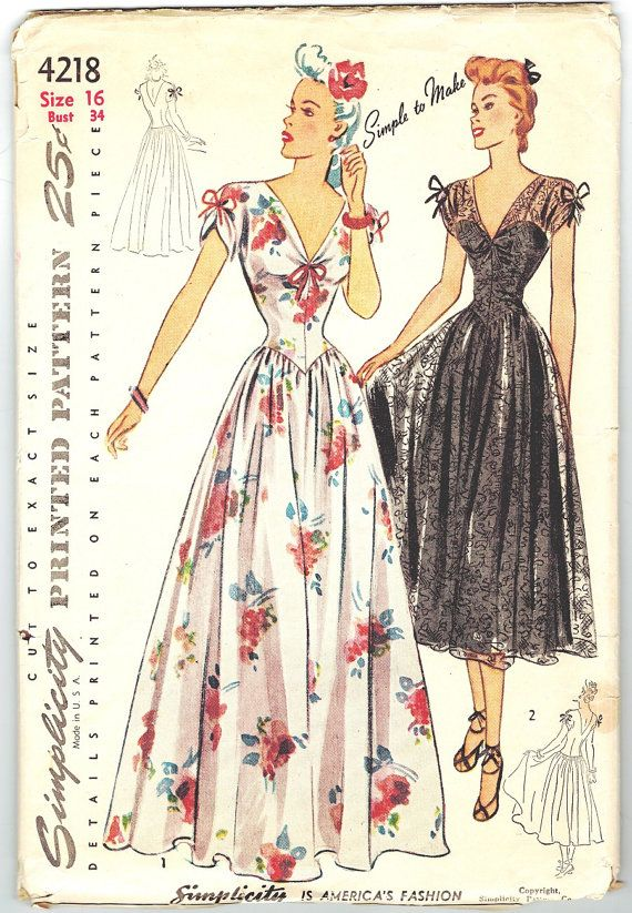 Simplicity 4218 UNCUT and FF Vintage 40s Lovely by PatternPlaying, $48.00