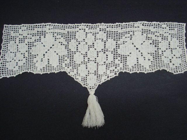 Precious Antique Shelf Lace Hand Crochet Filet Lace by VerasLinens