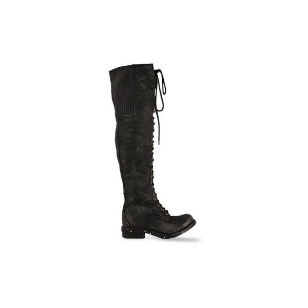 Jeffrey Campbell Meds (335 CAD) ❤ liked on Polyvore featuring shoes, boots, footwear, black distressed, over-the-knee boots, over the knee boots, black thigh-high boots, combat boots, slouchy black boots and thigh-high boots