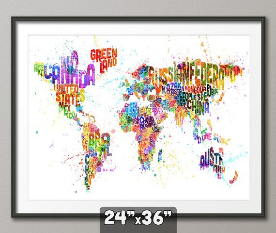 9 best fabulous map art ideas images on pinterest map art world typography map of the world map paint splashes art print 24x36 inch 747 gumiabroncs Image collections