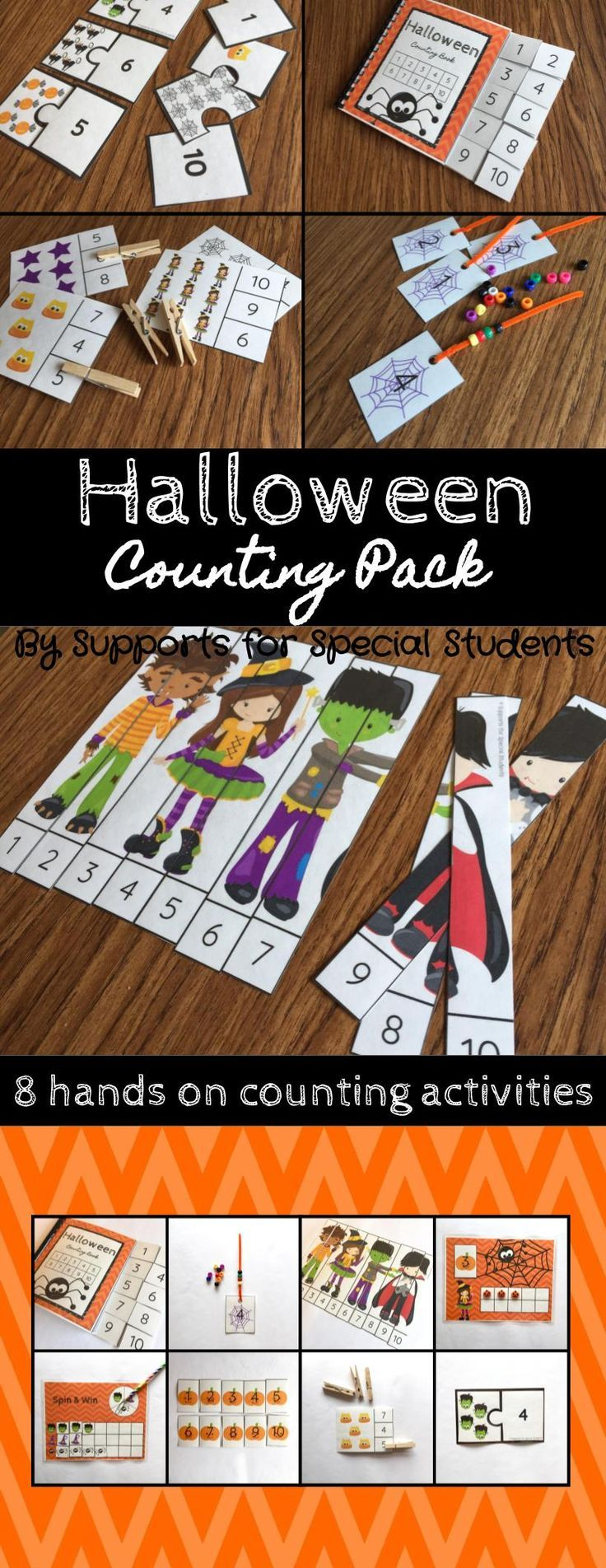 Halloween Counting Pack by Supports for Special Students - This resource is perfect for preschool, kindergarten or a special education classroom. There are 8 hands-on activities that focus on numbers 1-20 included in this pack. These activities can be use