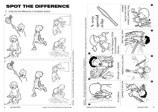 Glasgow 2014 Commonwealth Games free  resource download from R.I.C. Publications. Spot the difference and baton relay.