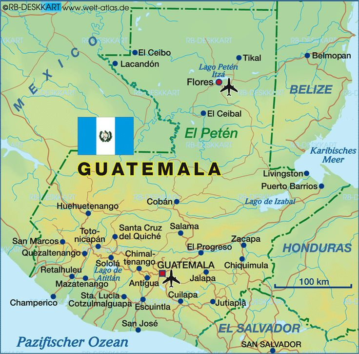 Guatemala, officially the Republic of Guatemala, is a country in Central America bordered by Mexico to the north and west, the Pacific Ocean to the southwest, Belize to the northeast, the Caribbean to the east, Honduras to the east and El Salvador to the southeast.  A representative democracy, its capital and largest city is Nueva Guatemala de la Asunción, also known as Guatemala City. Founded: Sep 15, 1821 * Population: 15.47 million (2013) * Capital: Guatemala City