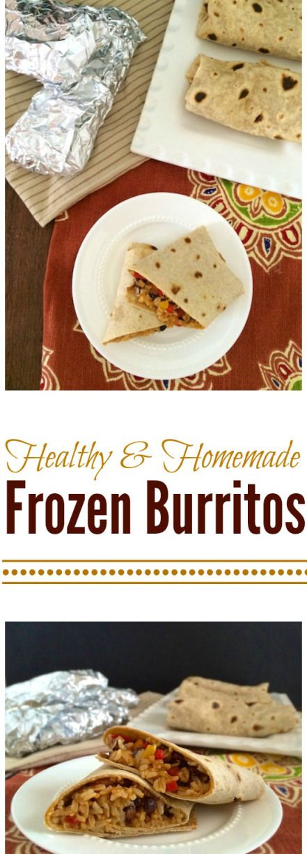 Make a batch of these healthy rice and bean burritos and freeze for on-the-go lunch or busy dinner nights. Teaspoonofspice.com @tspbasil