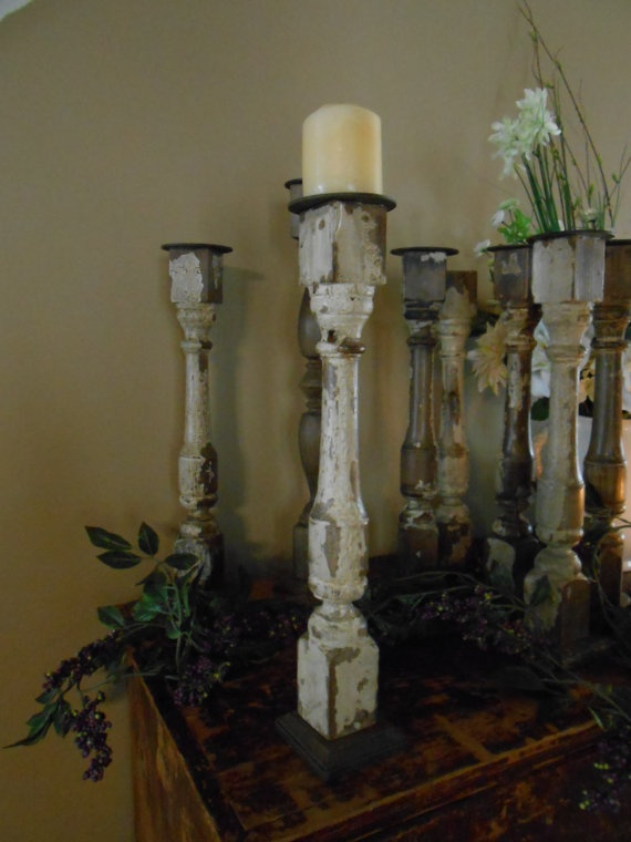 Vintage Porch Spindle Pillar Candle Holder by PurpleArmadillo2, $18.00