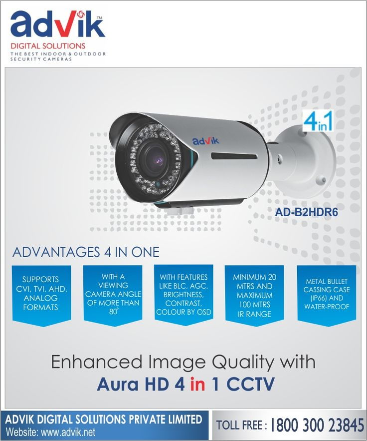 Enhanced Image Quality with Aura HD 4 in 1 #CCTV !!! Advik's wonder #Aura HD 4 in 1 camera has a contrast colour by OSD and a CMOS image sensor, which enhance the quality of image and video recorded so that you don't miss any crucial details. Key #features include; high speed, real-time transmission, 2.8 to 12 vari-focal lens, night vision, low light viewing and IP 66 weatherproof rating. Always stay alert with this resilient #security #surveillance camera. Click here for more…