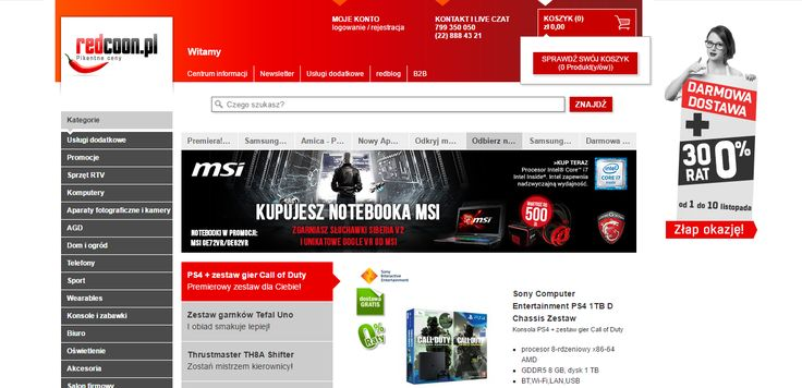 Redcoon - main page: slider, banner, category list, search box, cart widget, contact info