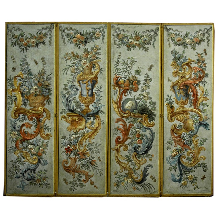 Italian 18th Century Four Panel Painted Screen viewed with client in Los Angeles.