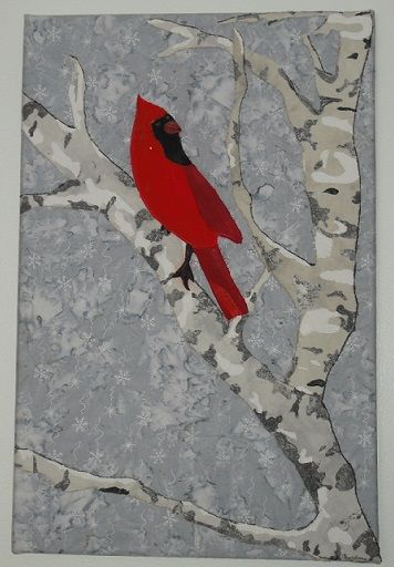 #Cardinal on Birch Tree Branch, fabric collage, designed by Chris Allaway, for sale.  Mounted on canvas.