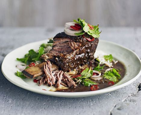 Asian short ribs with herb salad