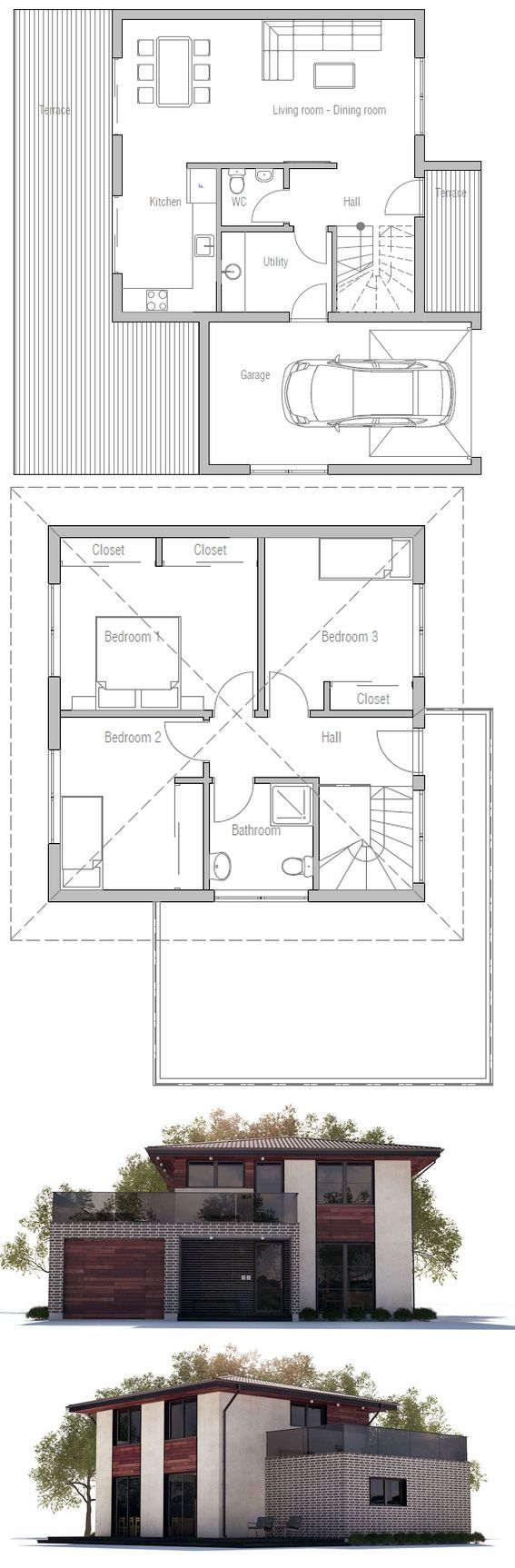 This is a great plan. Great upstairs deck over garage. Kitchen & dining open onto deck.  Course I'd arrange different as I want the kitchen to open onto livng. Dining by entry as usually your dining room is clean.  Plumbing consolidated. Utility open to garage. I'd put some storage under stairs. HAve a garage door open onto deck from garage. Change the  utility/bath area a bit to combine/add shower.  Ugly facade though. Try Spring Green.