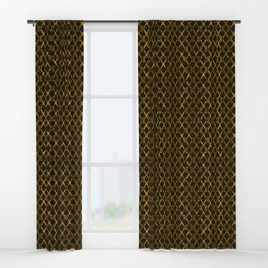 """Golden Brown Scissor Stripes Window Curtain by #Gravityx9 Designs -  Scissors lined up, end to end, with shades of shades of Rust, gold and brown. -  Your drapes don't have to be so drab. Our awesome Window Curtains transform a neglected essential into an awesome statement piece. They're crafted with 100% lightweight polyester, and thick enough to block out some light. Position the curtain rod into the 4"""" pocket and you're good to go."""