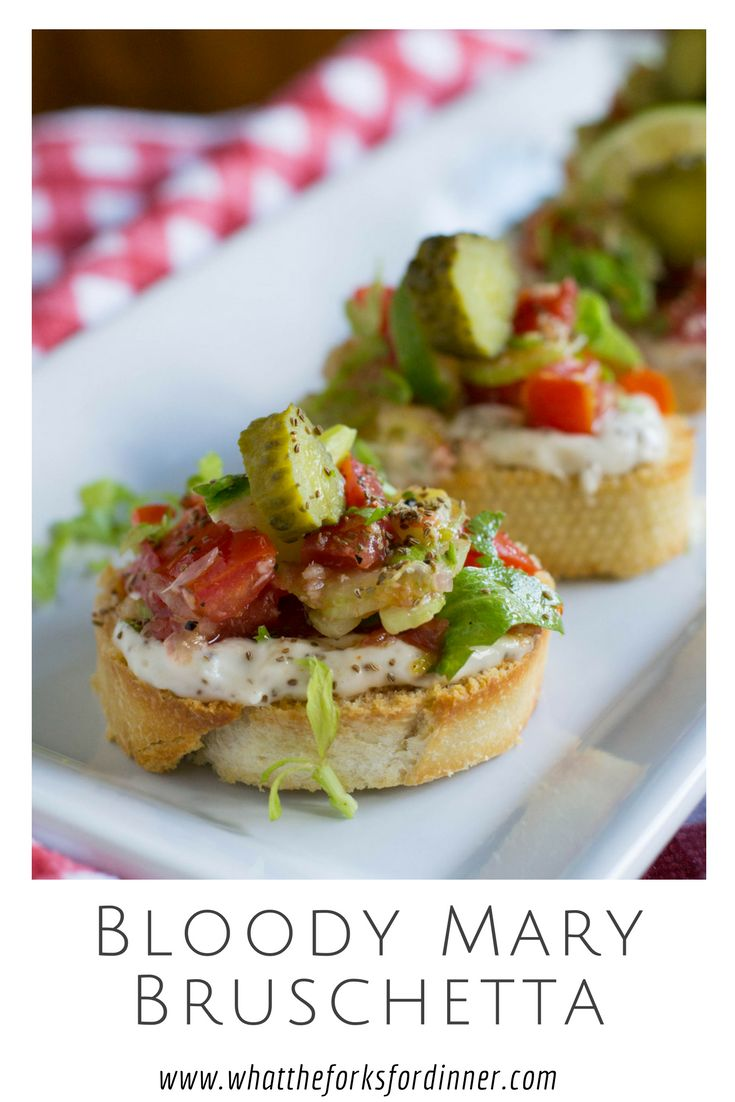 Bloody Mary Bruschetta -Not a cure for a hangover, but a cure for the common bruschetta. Tomatoes,celery,and bloody mary spices for a great appetizer.